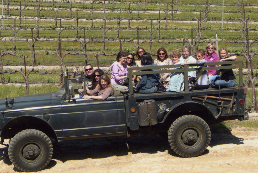 Wine Tour in Jeep M715 in the Steinbeck Vineyards, circa 1970.