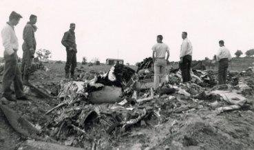 B-25 plane crash on Ernst/Steinbeck ranch, April 11, 1956.