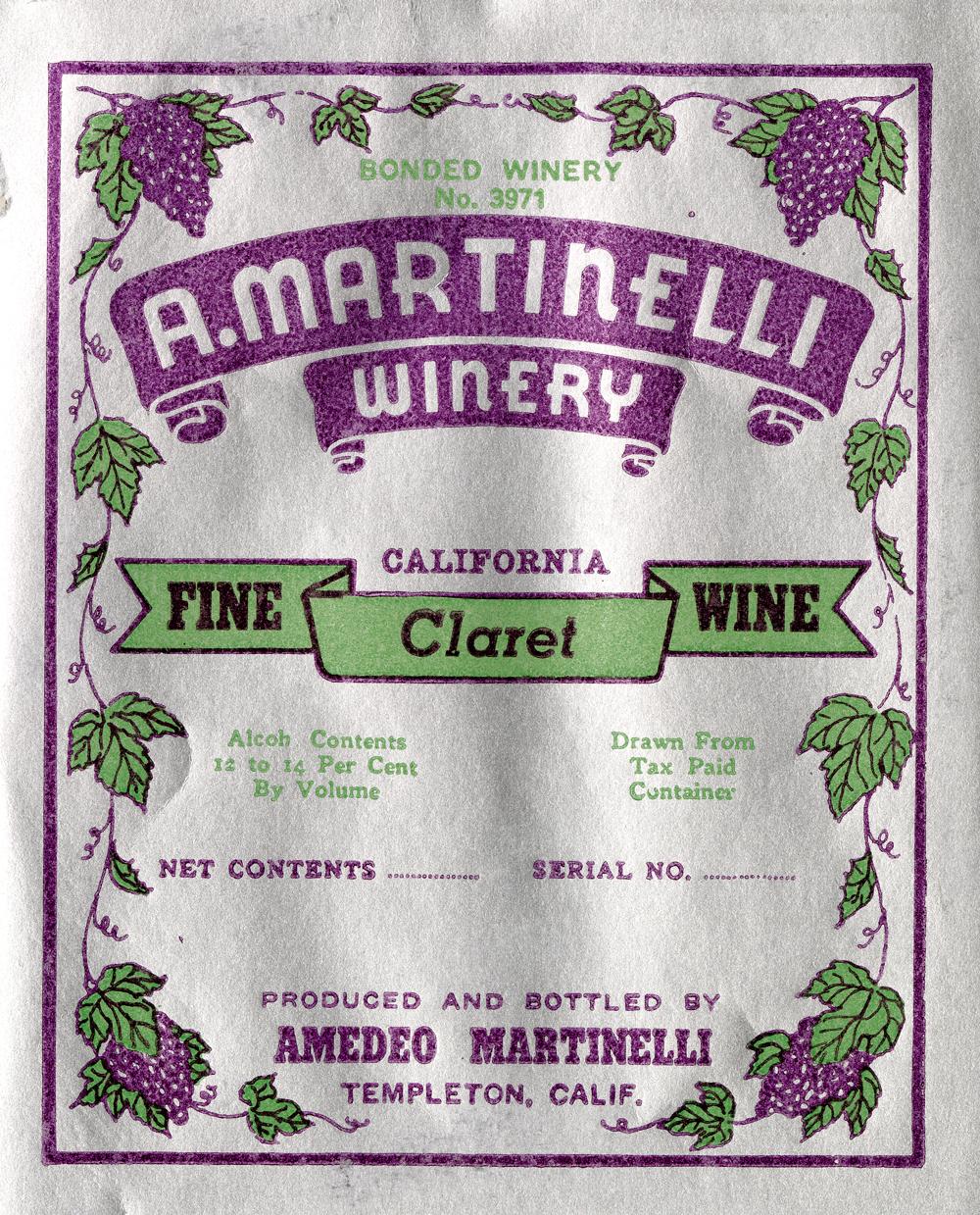 A. Martinelli Winery label: Fine Claret Wine