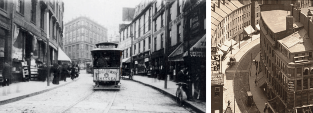 Left: Cornhill, Boston c.1897, Arcadia Publishing. Right: Cornhill, Boston c.1905, Boston Public Library.