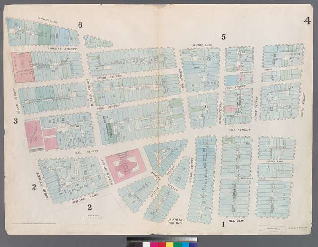 Map of the south end of Manhattan in New York City including Nassau Street (far left) where Eugene Tarbox's New York Stencil Works was located. Source: New York Public Library