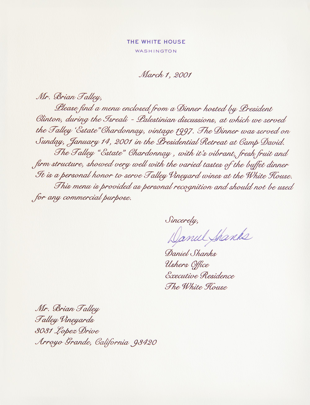 Talley White House Letter-Mar1-2001