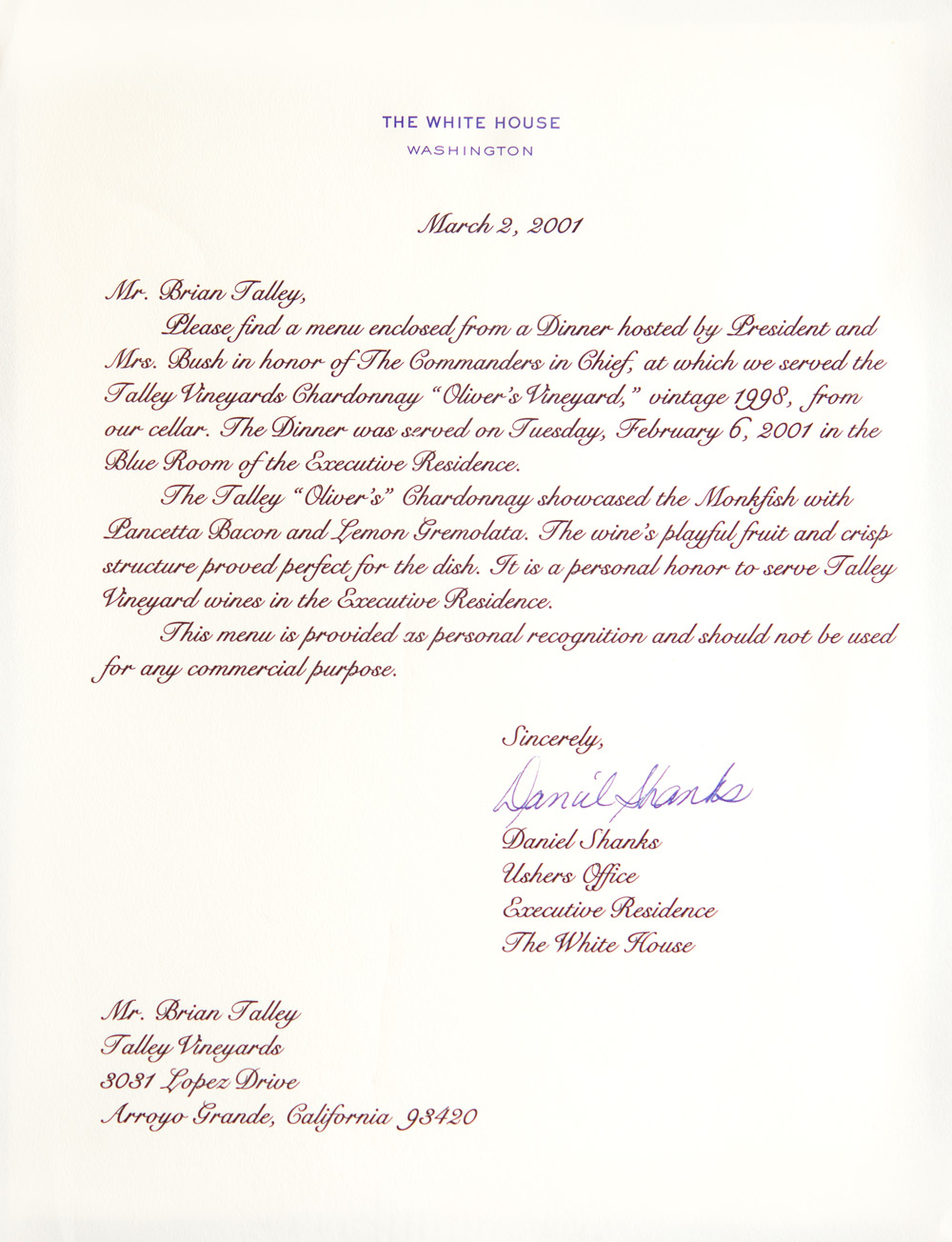 Talley White House Letter-Mar2-2001