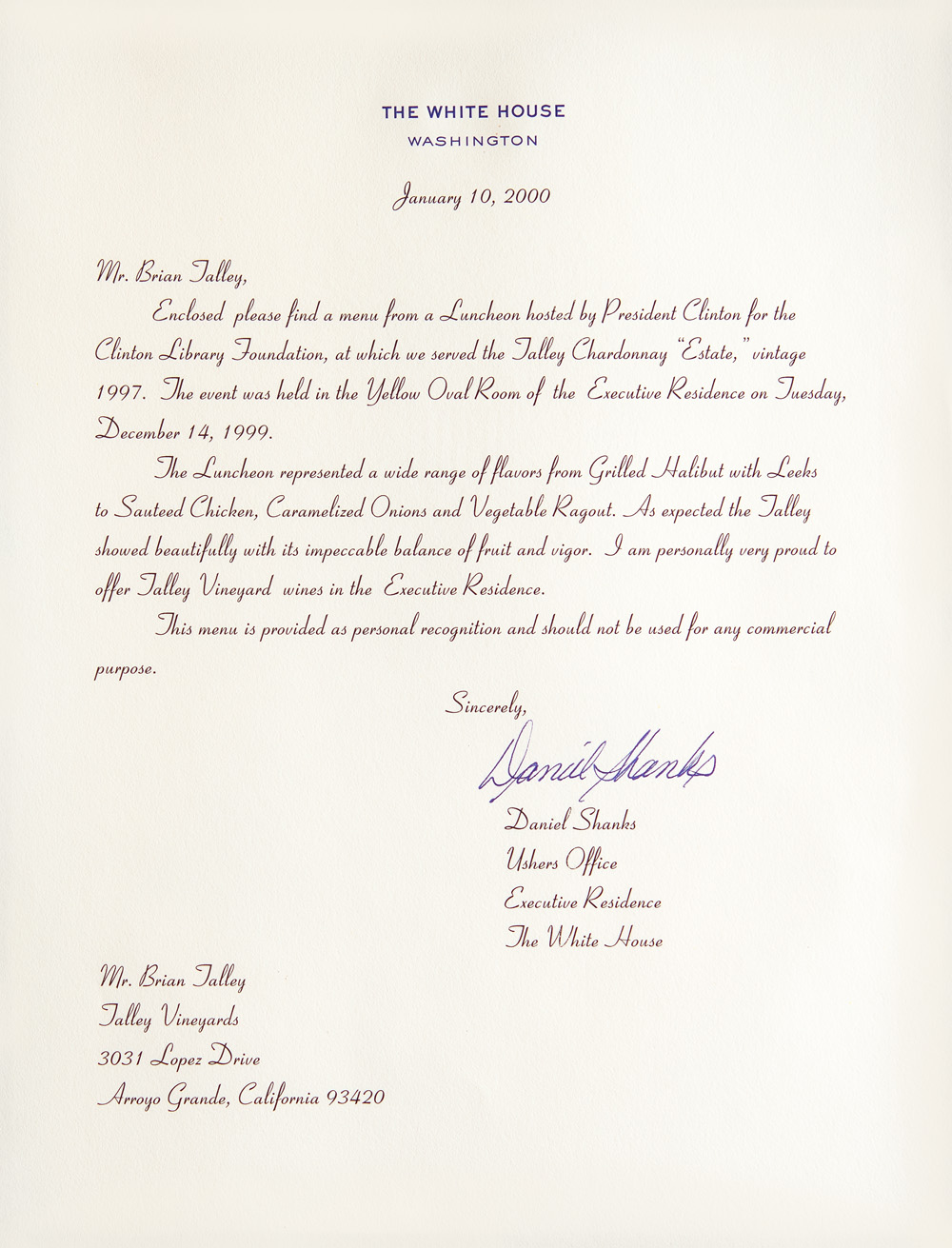Talley White House Menus-Jan10-2000