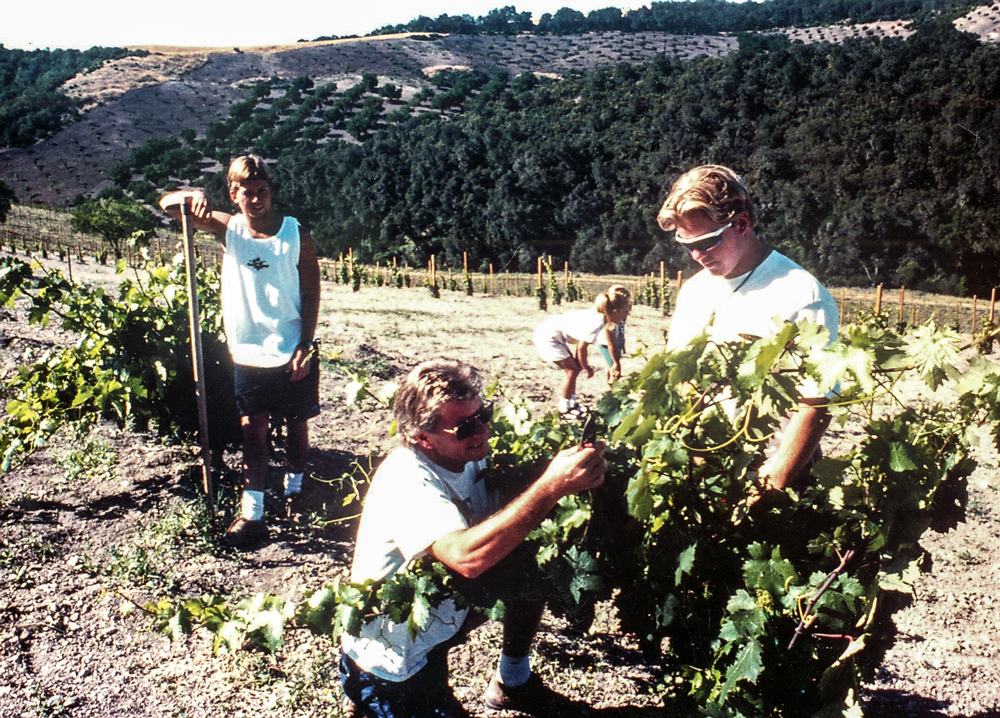 Around 1987, first grapes off Peachy Canyon with Josh and Jake