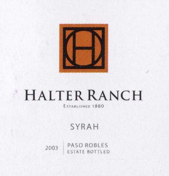 Halter Ranch Syrah Wine Label2003