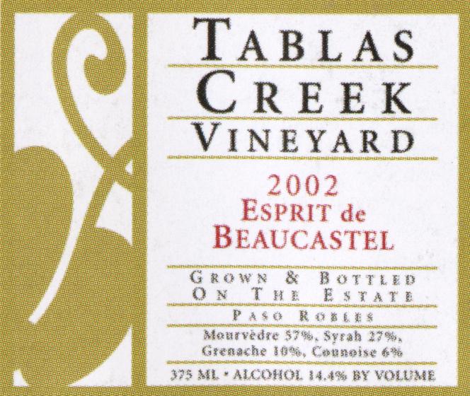 Tablas Creek Esprit de Beaucastel wine label2002