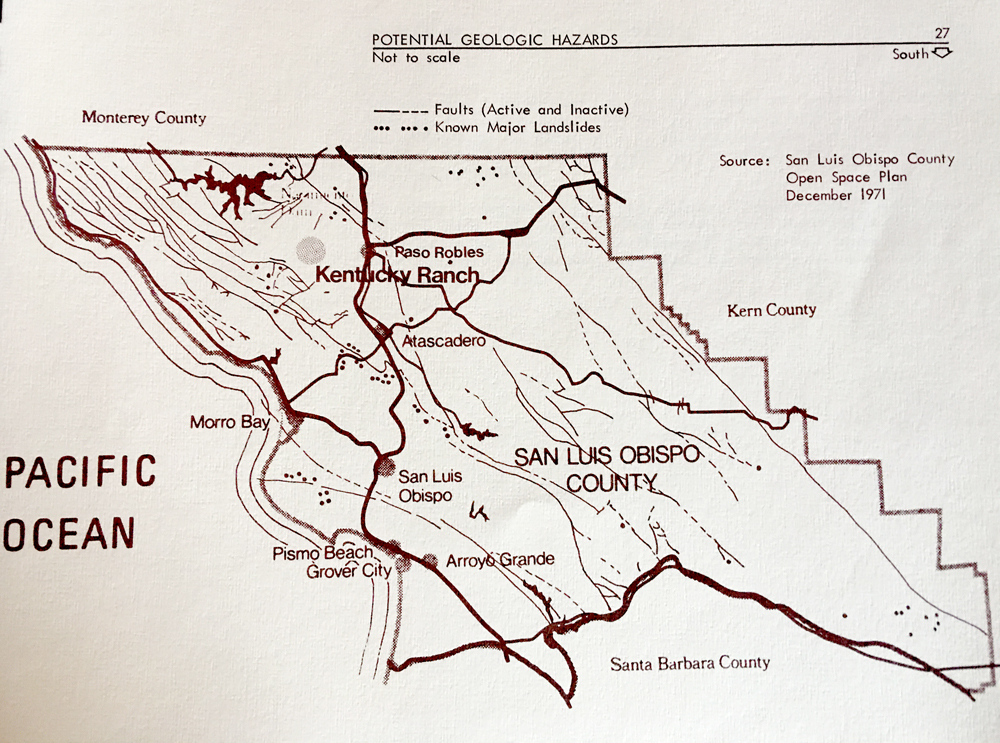 Map of San Luis Obispo County Geologic Hazards, Dec 1971