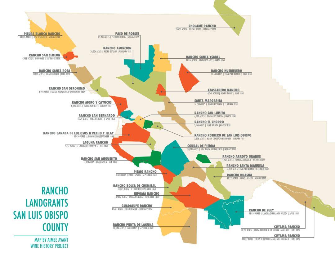 Rancho Landgrants San Luis Obispo map by Aimee Avant