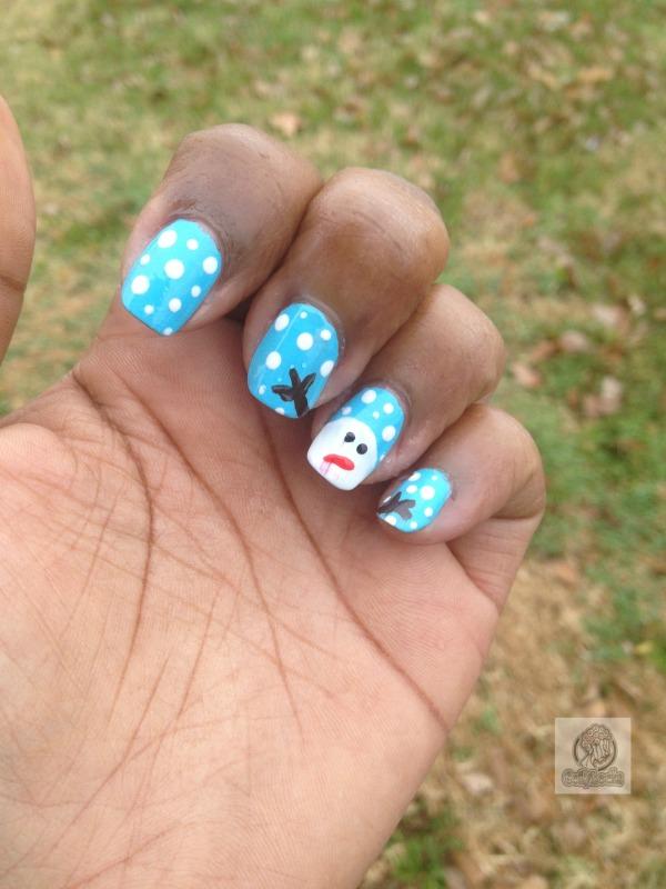 snowman-winter-snow-nail art-coilylocks-coily locks-alisha-lampley