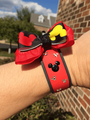 crystal red magic band with bow