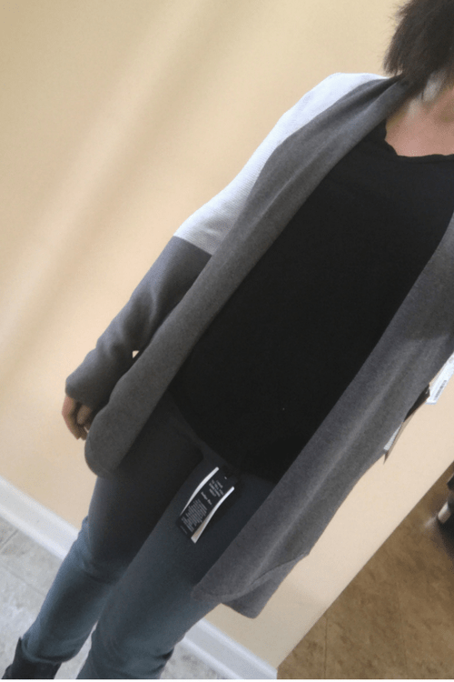 Stassi Colorblock open Cardigan with Just Black Joey Skinny jeans Stitch Fix