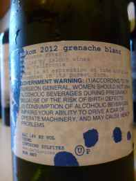 2012 Makom Grenache Blanc - back label