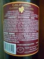 2005 California Classic Cellars Cabernet Sauvignon - back label