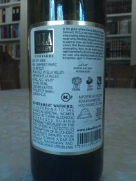 2009 Ella Valley Cabernet Franc - back label