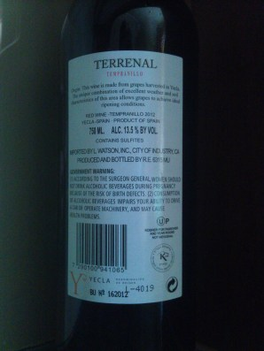 2012 Terrenal Tempranillo - back label