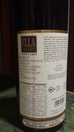 2005 Ella Valley Maerlot - back label