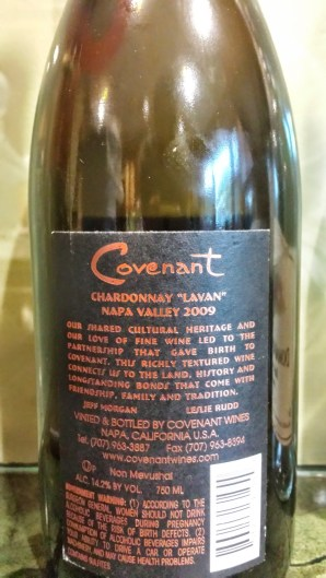 2009 Covenant Chardonnay, Lavan - back label