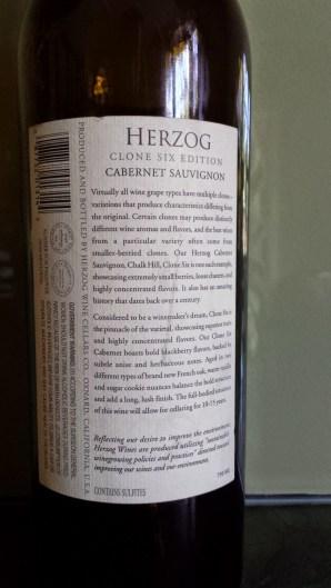 2009 Herzog Cabernet Sauvignon, Clone Six, Chalk Hill - back label