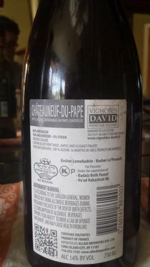 2011 Vignobles David Chateauneuf du Pape, Les Masques - back label