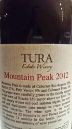 2012 Tura Mountain Peak - back label