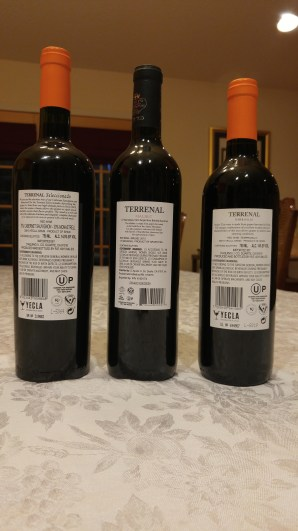 2015 Terrenal Malbec from Argentina, 2015 Terrenal Tempranillo from Yecla Spain, and 2015 Terrenal Seleccionado - bl