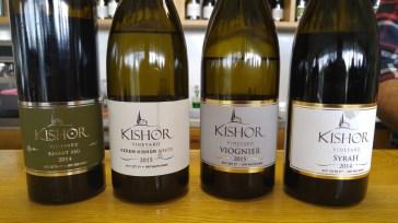 2014 Kishor Savant Red, 2014 Kishor Syrah, 2015 Kishor Kerem White, 2015 Kishor Viognier