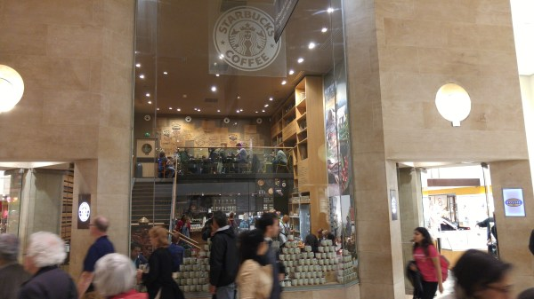The crazy mall in the louvre with the requisite Starbucks!