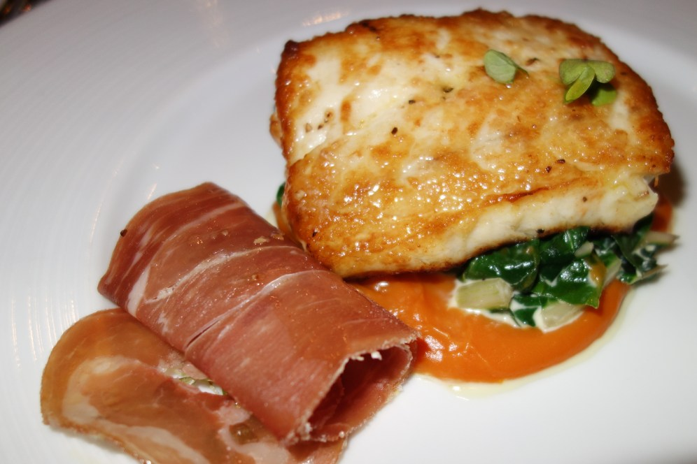Pan-Fried Snapper with Sweet Potato Puree, Silverbeet & Prosciutto
