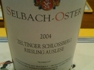 Selbach-Oster 'Schmitt' Zeltinger Schlossberg Riesling Auslese Mosel 2004