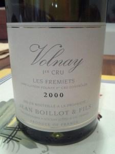 Jean Boillot Volnay Fremiets 2000