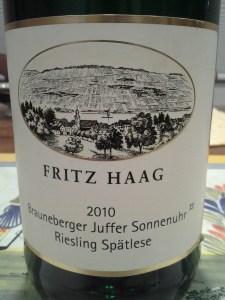Fritz Haag Brauneberger Juffer Sonnenuhr Riesling Spatlese Mosel 2010