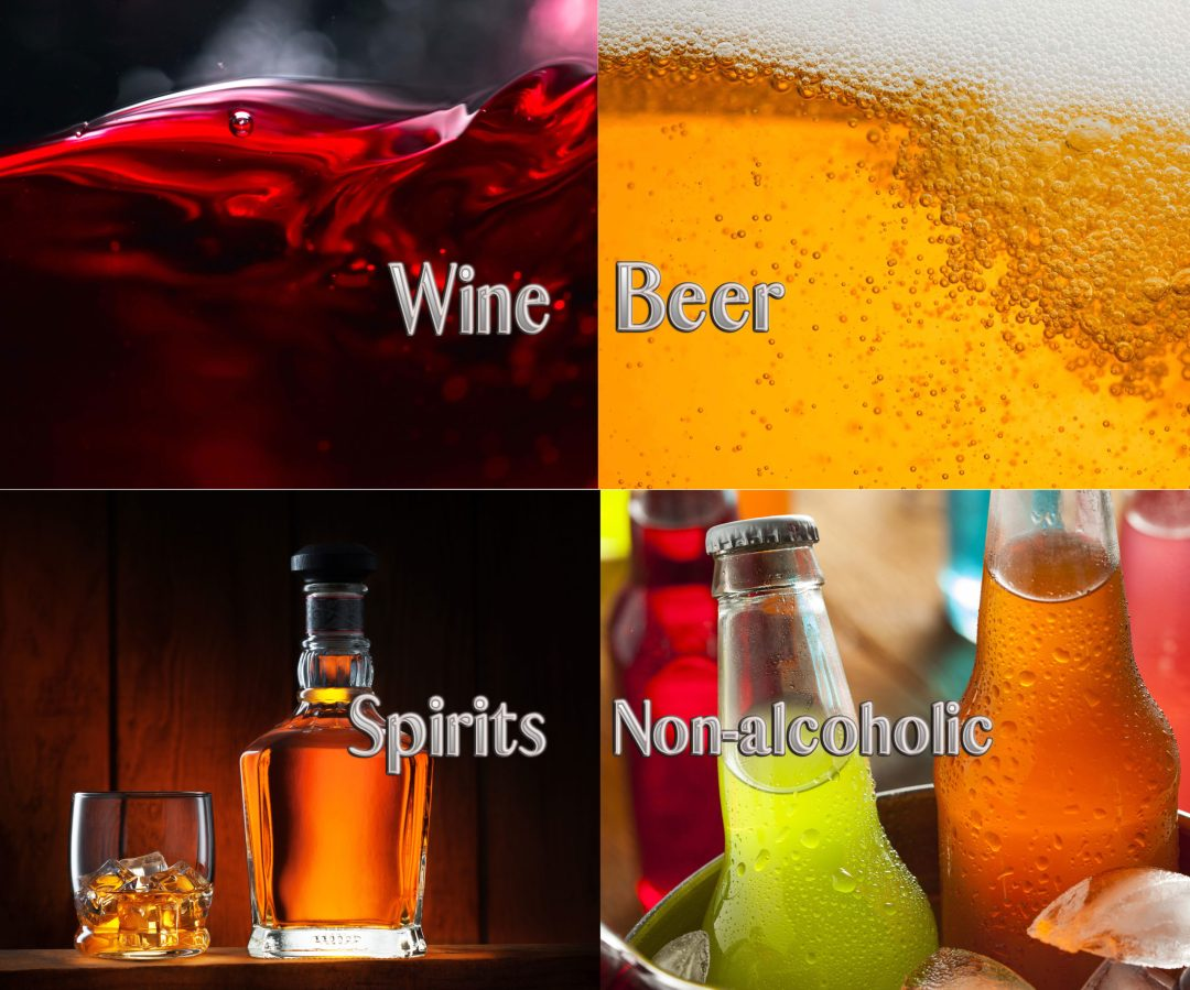 Beverage promotions of wine beer spirits nonalcoholic