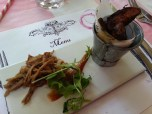 Five Spiced Pulled Pork with Prune puree & Paprika wedges - paired with Stellenzicht Golden Triangle Shiraz