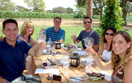 A happy group on our Wine Lovers Tour, Santa Barbara's most popular wine tour, toasting as they eat lunch in a idyllic setting.
