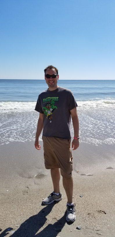 winey dada on the beach