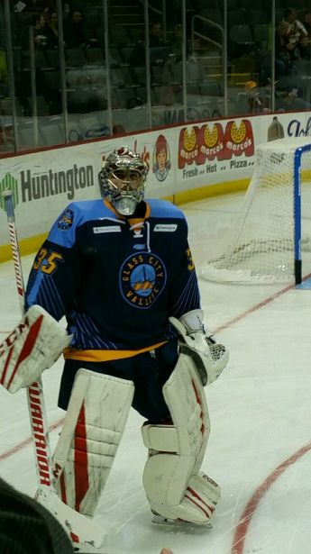 Jake Paterson in the Glass City Walleye jersey made to celebrate the city of Toledo.