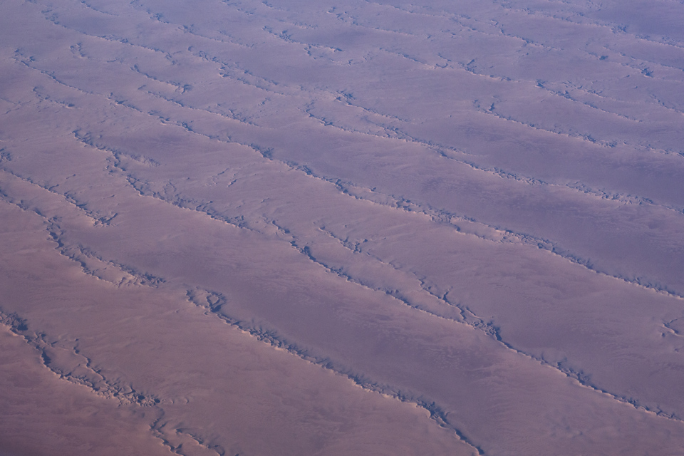 Flying over Africa, a view of the Sahara desert.