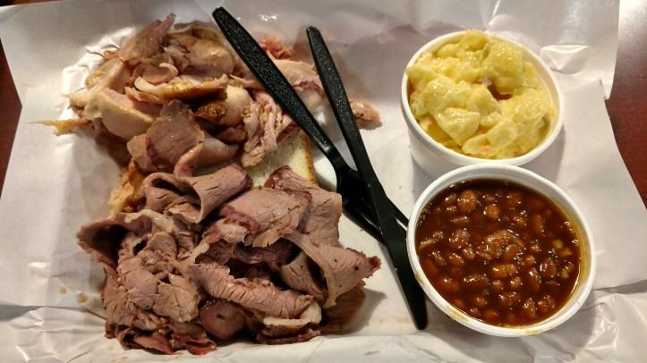 Brisket, chicken, beans and potato salad