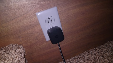 One of three gray outlets installed in bedroom power by the PowerDrive inverter