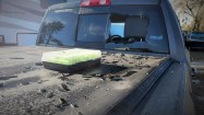 Damaged truck window, February 6, 2018