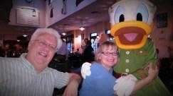 Donald Duck, Mark and Katrina at the Animal Kingdom Tuckers House Character Dinner, February 8, 2018
