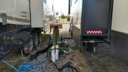 Tight quarters at the Agricenter RV Park Sites. utilities at our site