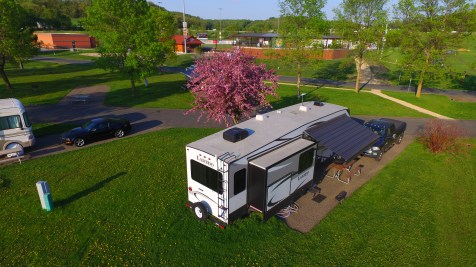 Site 1 of Hoffman Park with our 2017 Laredo 325RL 5th wheel and 2015 RAM 3500 truck.