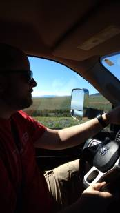 "As we continued along the ""off-roading"" on the road, Jason has a firm grip of the wheel as there were a number of locations where there were no guard rails over some steep cliffs"