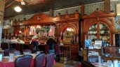 "The ""historic"" bar from England in the Irma Hotel restaurant"