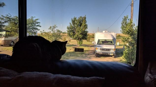 Rico enjoying his view of the KOA at Belvidere, SD