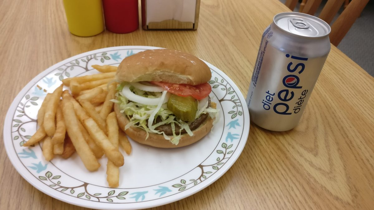 burger, pop, fries