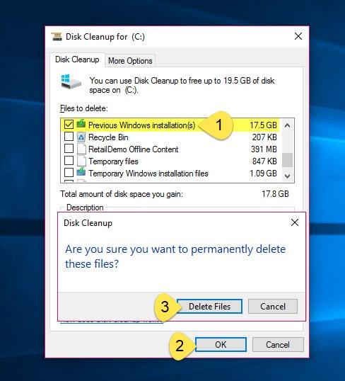 حذف ملف Windows.old