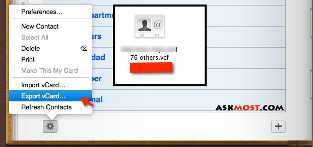كيفية فتح ملف vcard